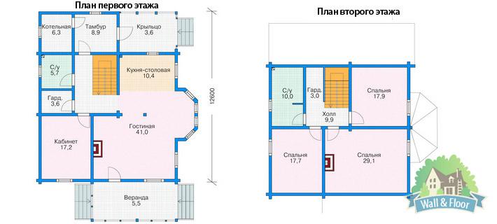 Поэтажный план помещений с указанием площади.
