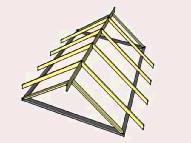 Пример конструкции двускатной крыши