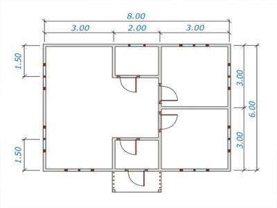 Пример планировки брусового дома с одной спальней и санузлом