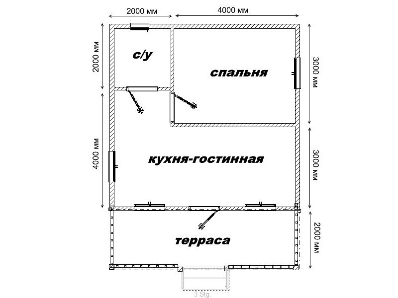 Пример планировки дома 6х8 м
