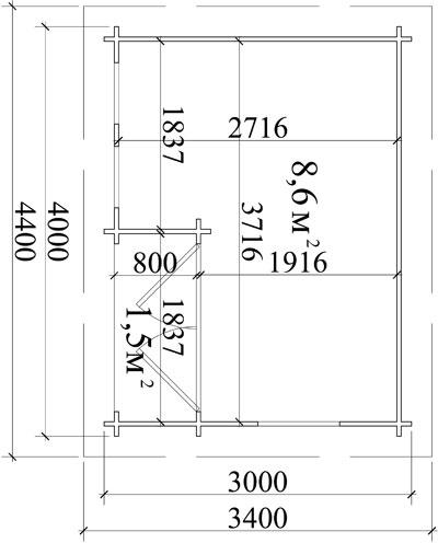 Пример проекта брусового садового дома размерами 4,4 на 3,4 м