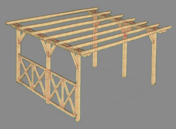Пример проекта каркаса деревянного навеса