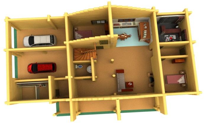 Пример того как выглядят проекты домов из бревна ручной рубки