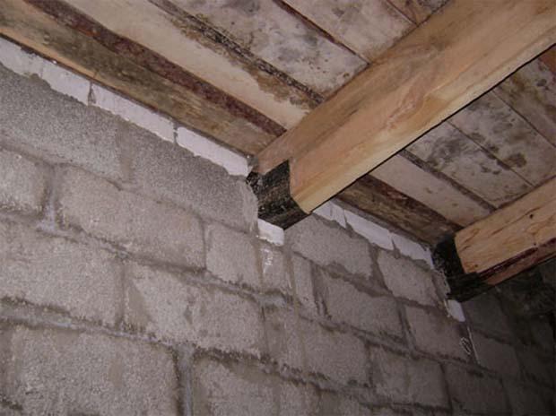 Пример уложенных в гнезда балок