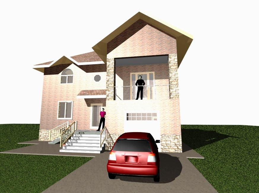 Пристройка с гаражом к двухэтажному дому