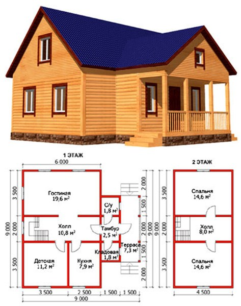 Проект дома 9х9 с небольшой террасой