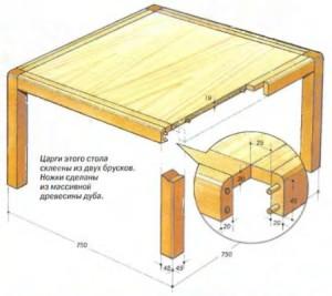 Раздвижной стол из дерева чертежи