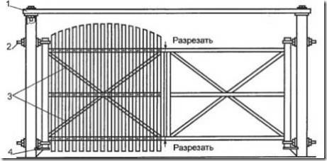 Проект ворот с арочными створками