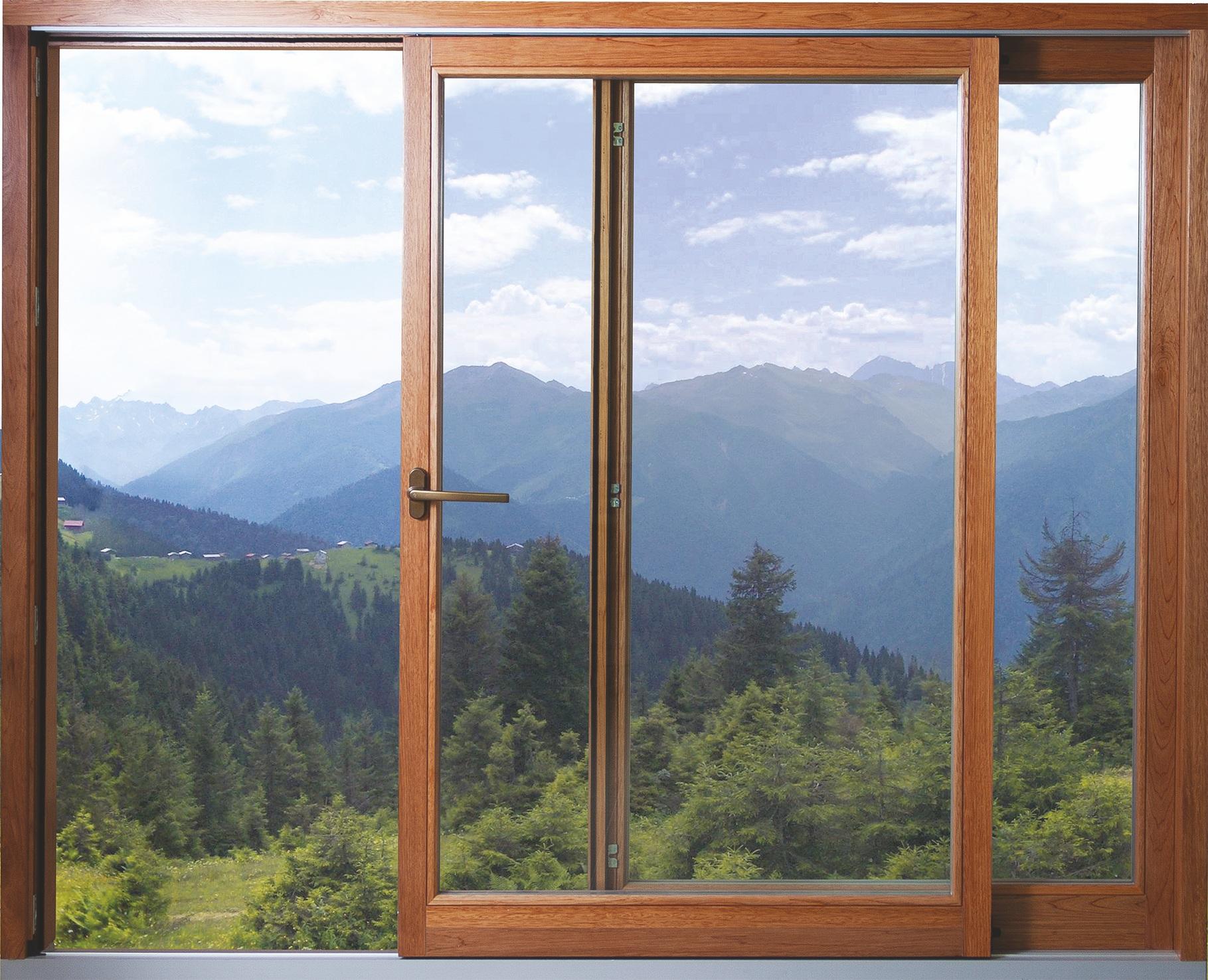 Раздвижные деревянные окна с внешними алюминиевыми накладками