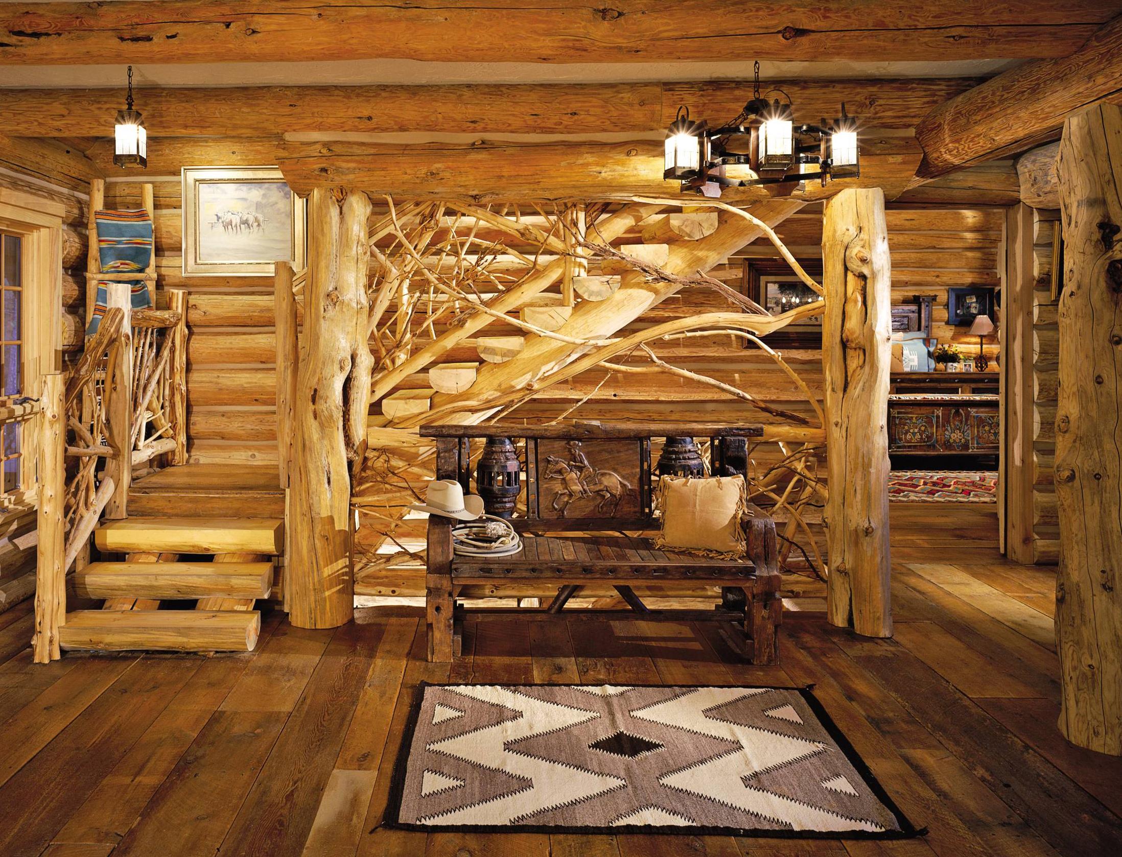Красивый интерьер деревянного дома внутри фото
