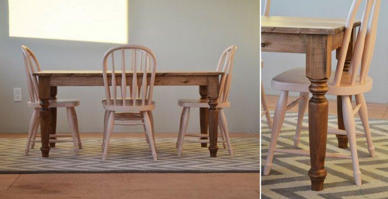 Самодельный стол с резными ножками из массива натурального дерева.