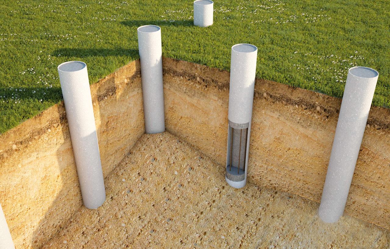 Схема бетонных столбов.