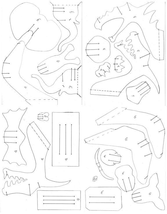 Схема деталей для сборки слона и дракона