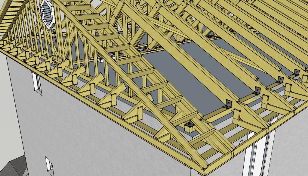 Схема крепления доски к стропилам из клееного деревянного двутавра.