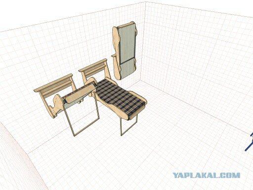 Схема кровати в различных стадиях сложения