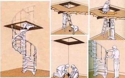 Схема монтажа модульной лестницы.
