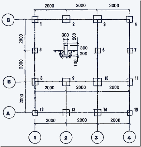 Схема размещения столбов.