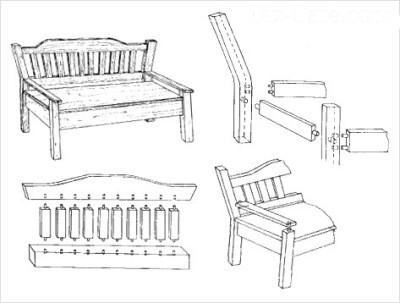Схема сборки классических подлокотников и спинки