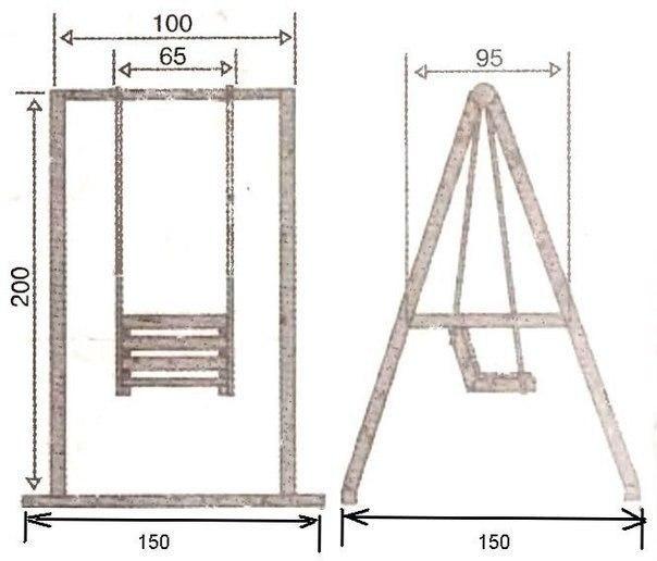Схема стандартной детской деревянной качели