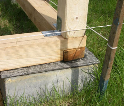 Соединение бруса с нижней обвязкой