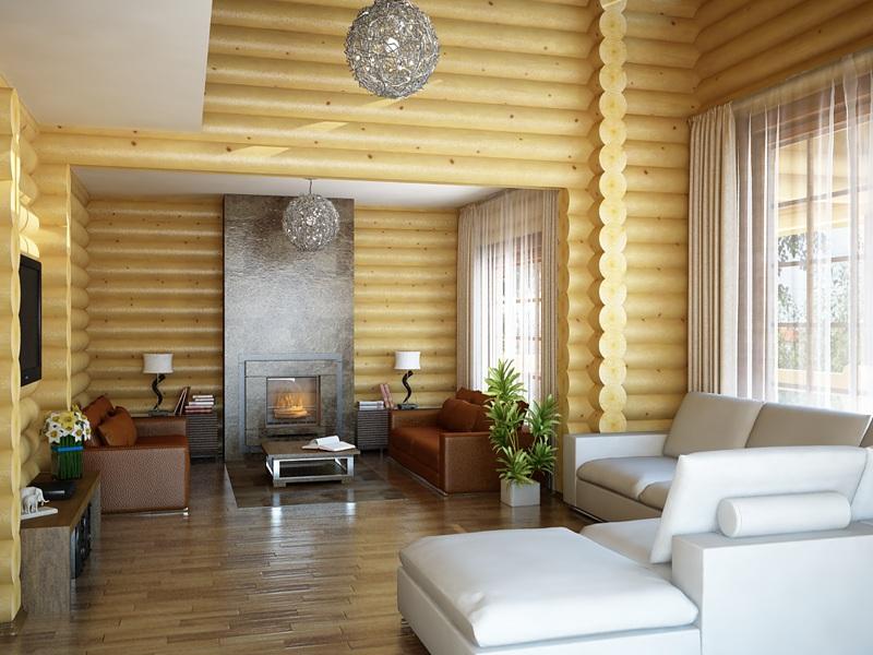 Современное оформление жилого помещения в деревянном коттедже