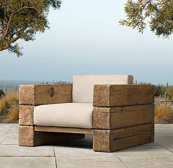 Стильное садовое кресло из бруса.