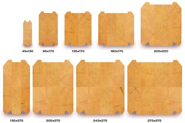 Строганный клееный брус имеет размеры, отличающиеся от элементов из массива