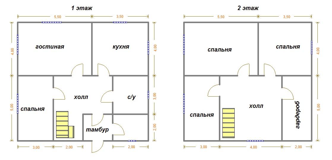 Такой проект двухэтажного дома 9х9 из бруса очень популярен, но у него есть еще один плюс – если сделать крышу ломаной, то можно реализовать вариант с мансардой по этому же чертежу