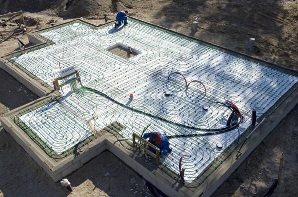 Теплый пол на бетонном фундаменте.