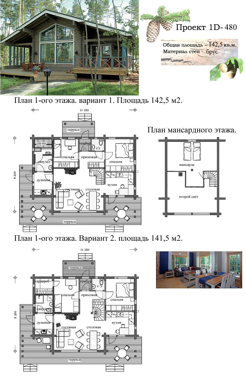 Типовой проект дома с общей площадью 142,5 м²