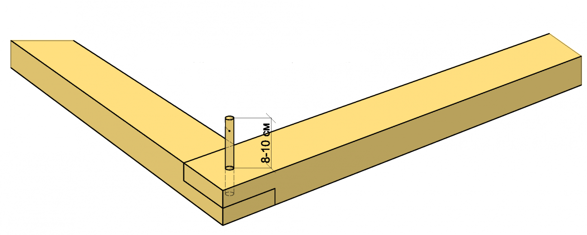 Вариант соединения брусков в пол дерева с использованием шпунта