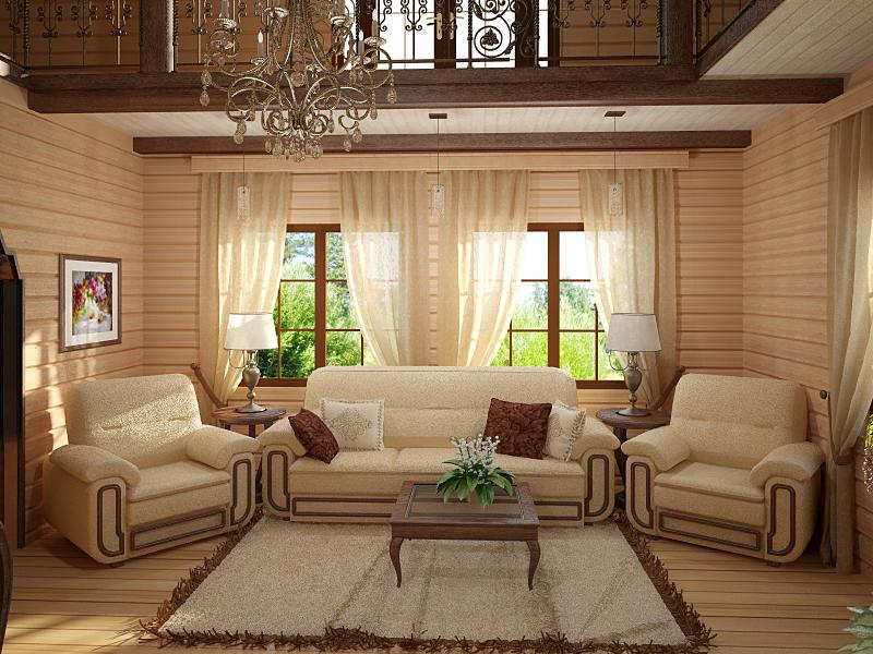 Внутренняя отделка гостиной в классическом стиле.