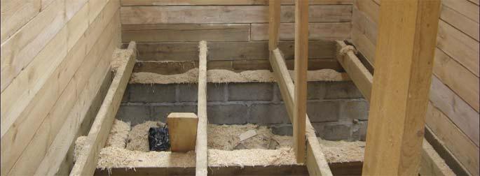 Врезка лаг в доме из бруса