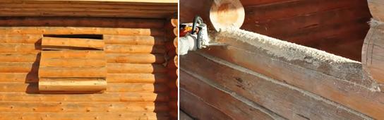 Вырезка проёма в стене (слева) и плоскости для подоконника (справа)