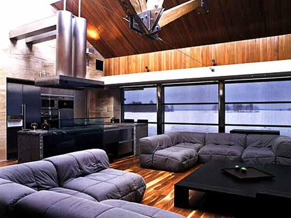 Зонированное освещение в гостиной, оформленной в стиле хай-тек
