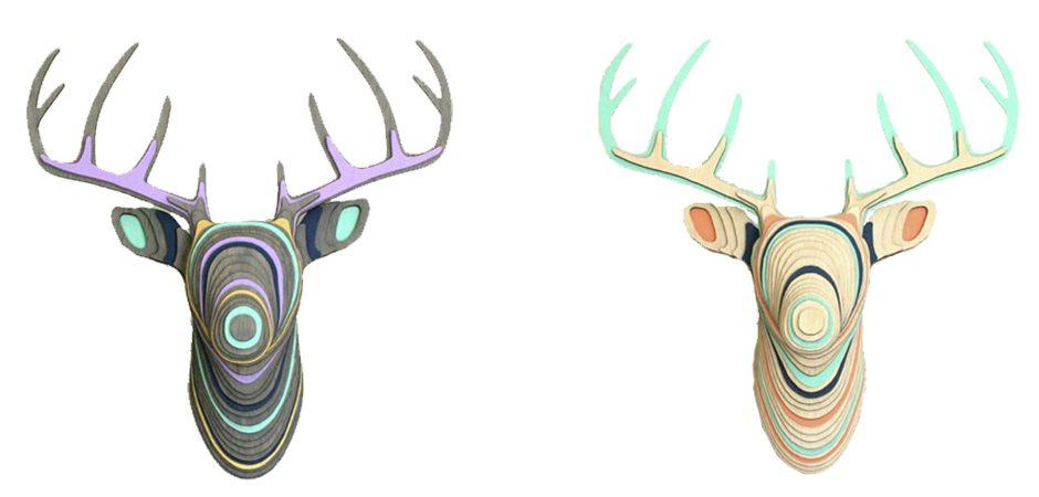 3D голова оленя из разноцветной фанеры