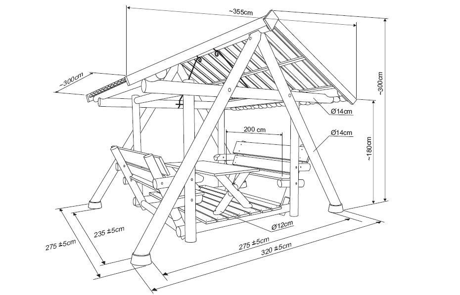Аксонометрическая схема деревянной беседки
