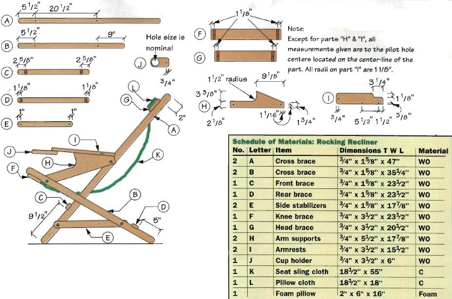 Чертеж складного стула из дерева – один из множества вариантов