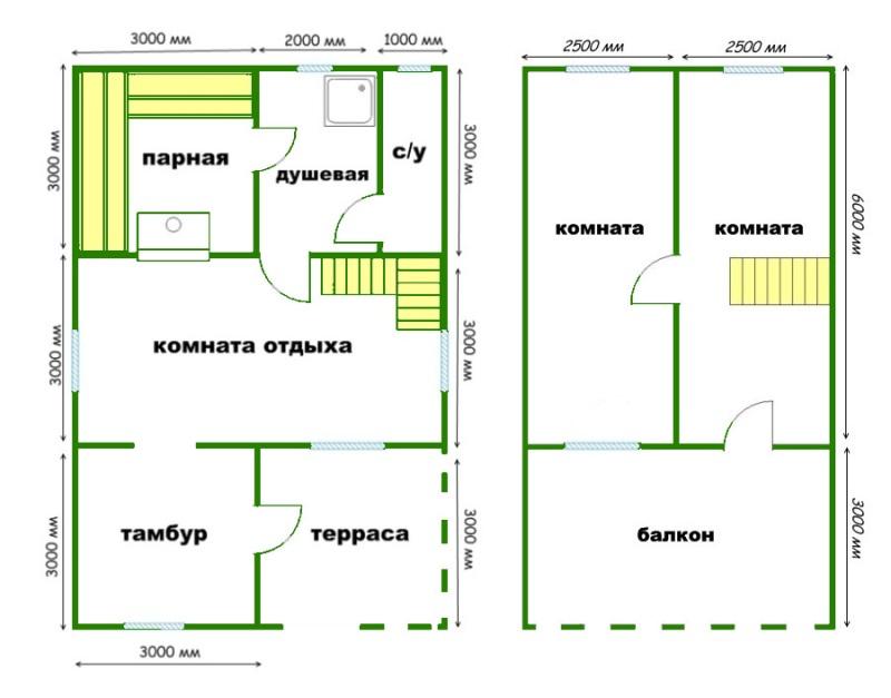 Данный проект бани из профилированного бруса с мансардой отличается удобством и функциональность и может быть использован и как летний домик на загородном участке