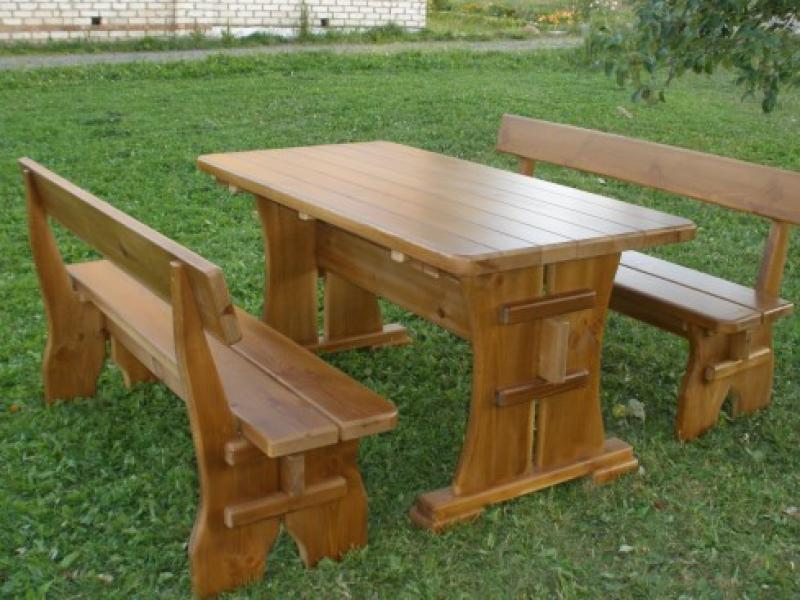 Стол и скамейки из дерева своими руками фото