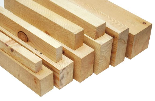Деревянный брус с разным поперечным сечением