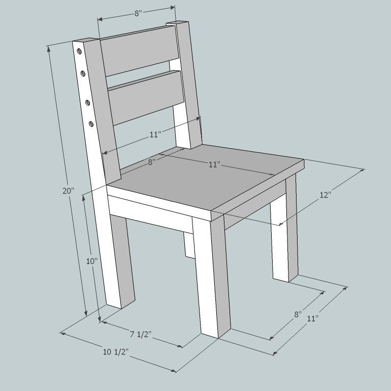 Детский стульчик. Размеры указаны в дюймах.