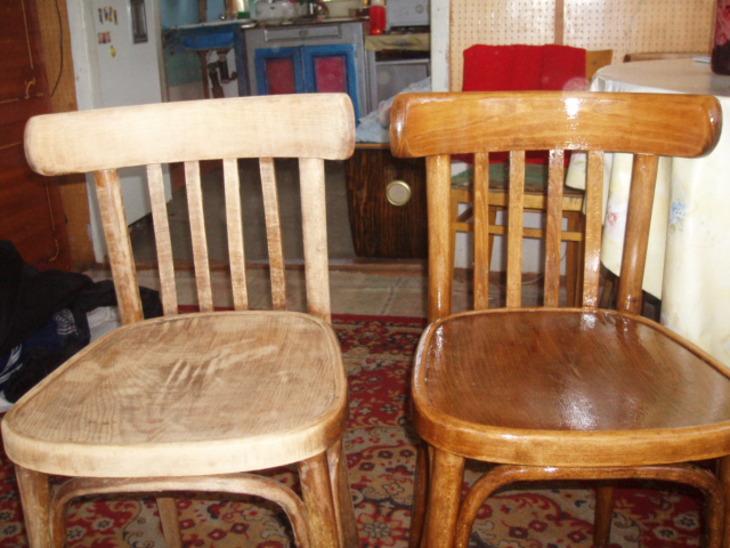 Если вас интересует, как обновить деревянный стул - начните с его шлифовки и повторного нанесения лака.