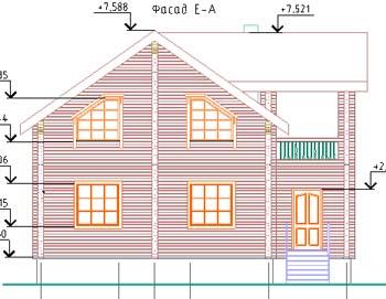 Фасадный чертеж мансардной постройки.