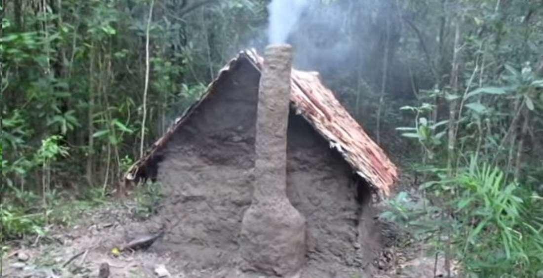 Хижина, построенная без инструментов