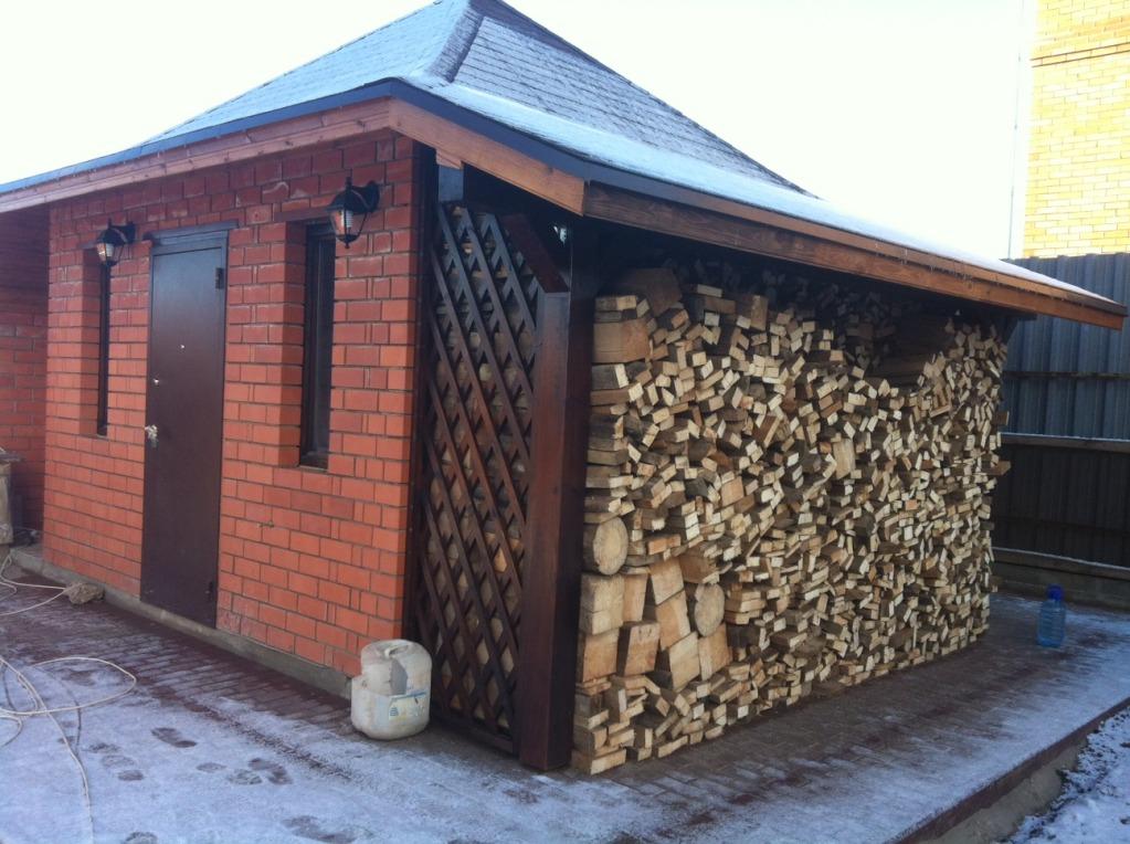 Приваливать дрова вплотную к стене не стоит, нужно оставить место для вентиляции