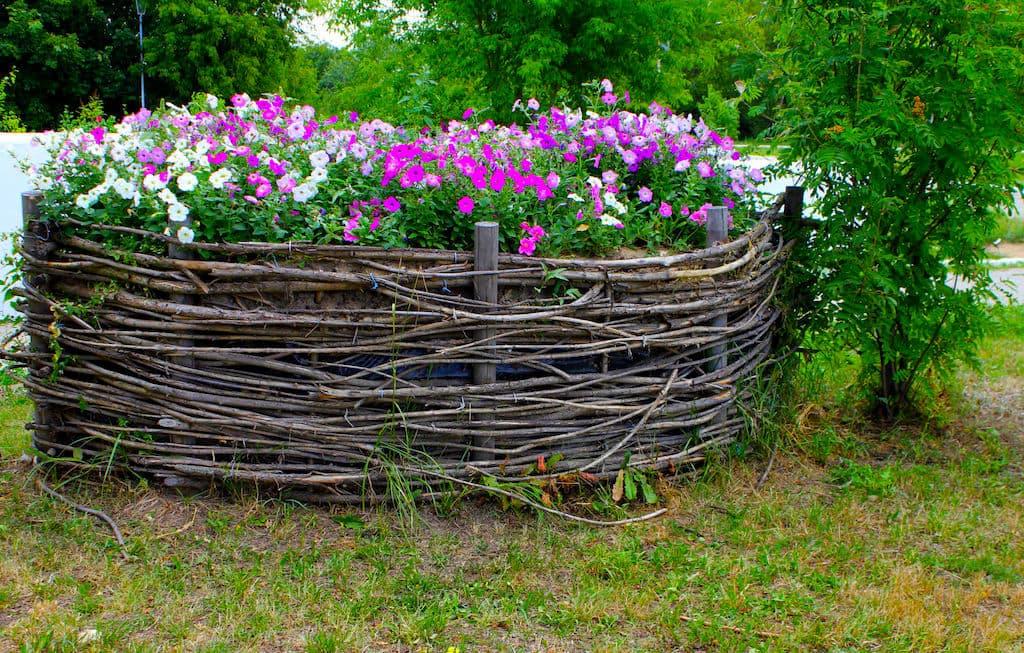 Из срезанных веток может получиться заборчик для цветов