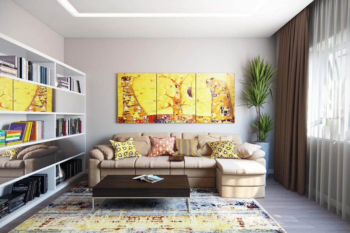 Картины в гостиной сделают акцент на стенах и создадут уют