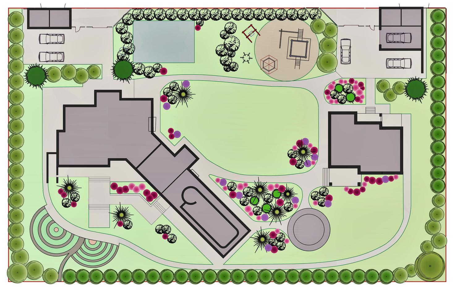 На чертеже отмечаются все растения, деревья, дорожки и водоемы