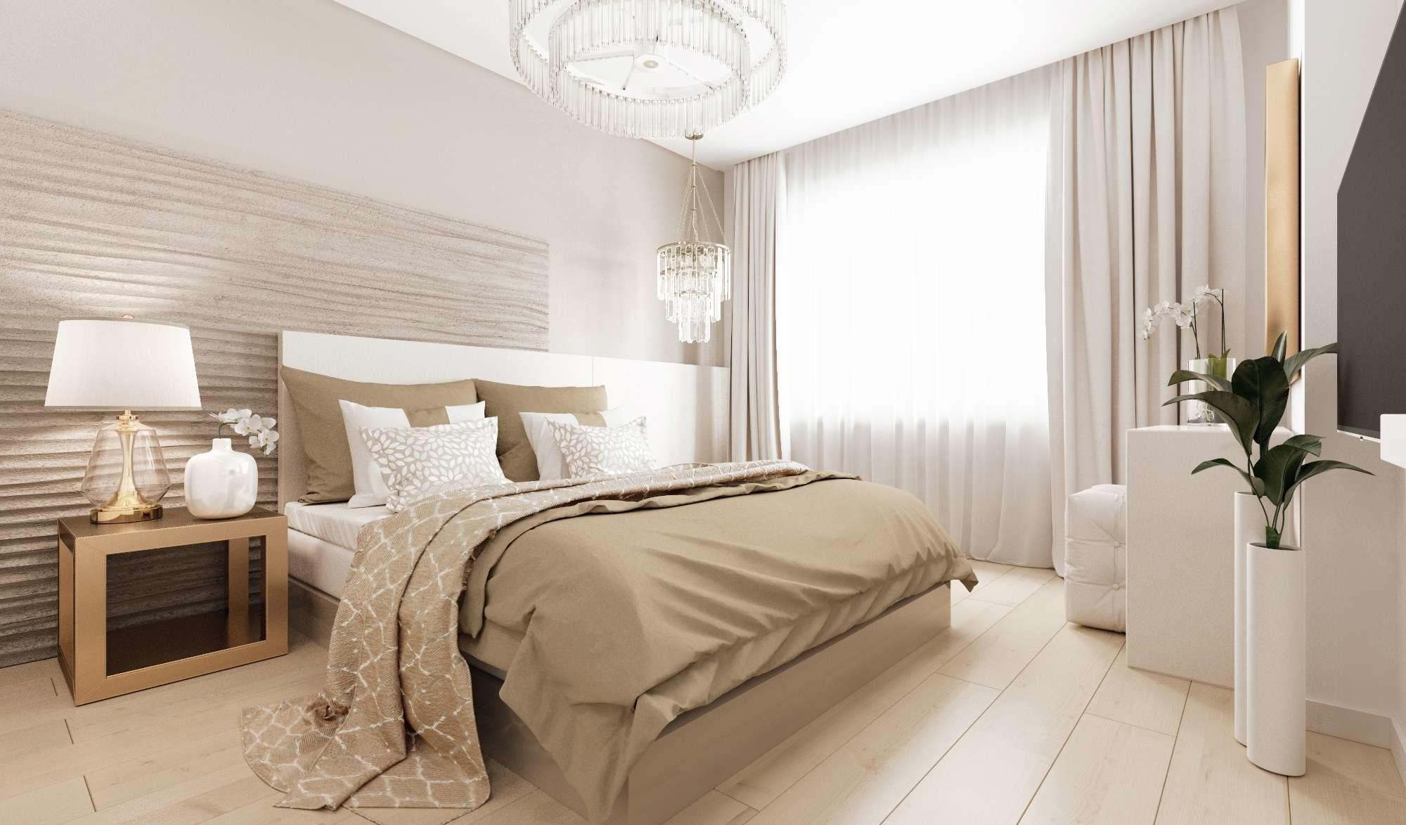 Спальня в светлых тонах в тренде осенью 2019 года